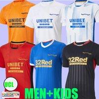 2021 2022 Rangers 150th Anniversary Jerseys de futebol de distância Glasgow Campeões de treinamento 55 Defoe Hagi Barker Tavernier 21 22 Camisas de futebol Men + Kit Kit Versão