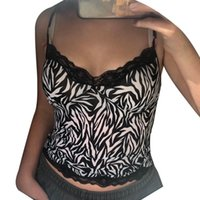 Women's Tanks & Camis Women Printed Tank Top Adults Sexy Sleeveless Spaghetti Strap V-neck Lace Trim Camisole For Summer Party Shopping