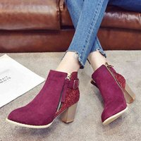 Boots Casual women's ankle boots, retro style, high heels, with crystals, plus size 41, 8I96