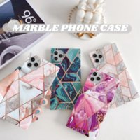 IMD triangle diamond marble glossy square box TPU phone cases for iPhone 12 11 pro promax X XS Max 7 8 Plus case cover