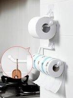 Hooks & Rails Kitchen Paper Holders Sticker Rack Iron Roll For Bathroom Toilet Towel Racks Hangers Home Storage Tissue Shelf Organizer