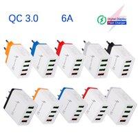 QC 3.0 Быстрое зарядное зарядное устройство 4 USB Порты 30W 6A Быстрая зарядка Цвета Путешествия Адаптер Power US US UK PLUS Прямые зарядные устройства для Samsung
