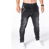 Hombre Slim Fit Jeans Fashion Black Streetwear Skinny Jeans Jogging Slim Casual Denim Mens Multi-Pocket Zipper Design Trabajo Cargo P