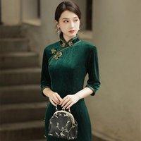 Ethnic Clothing BALDAUREN Old Shanghai Cheongsam 2021 Autumn Mother Dress Temperament Improved Fashion Chinese Retro Disc Button Skirt Qipao