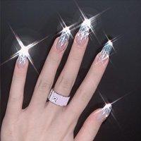 Láser plateado brillo polvo llama bailarina larga falsa uñas reutilizable ultra delgado moda francés ataúd falso con pegamento