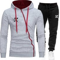 New Men's Tracksuits casual hooded sweater suit autumn and winter fashion plus size long-sleeved pullover printed trousers two-piece