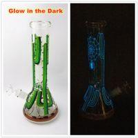 Smoking Hookahs Glass Water Pipes Glow in the Dark Beaker Bongs