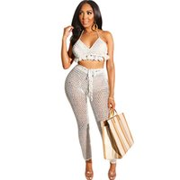 Knitted Crochet Sexy Two Piece Set Summer Women Hollow Out Halter Backless Tassel Crop Top+ See Through Pants Beach Club Outfits X0428