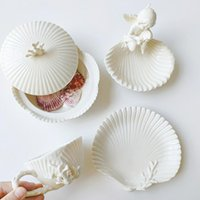 Cups & Saucers High-end Coral Shell Relief Coffee Cup And Saucer Ceramic Afternoon Teacup Creative Porcelain Tazas De Cafe