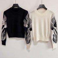 2021SS CC Desinger Kadınlar Kazak Marka Beyaz Hoodies Örme Gömlek CC Yüksek Kalite Yüksek Kaliteli Yün Karışımı Bayan Giysileri