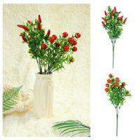 Flores decorativas guirnaldas simulación pimienta árbol cereza espuma fruta decoración del hogar flor plástico plantas artificiales boda