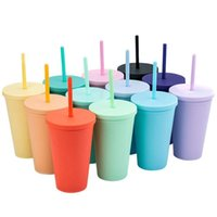 2021 16 Unzen Gerade Tumbler Doppelschicht Trinksaft Cup mit Lippenstroh Kaffeetasse Costom Plastikbecher Viele Farben FY4421