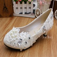 designer White Low-Heeled Heart Beadeds Lace Bridal Shoes Fashion Pumps Woman Slip On Cheap Wedding Shoes