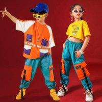 Niñas o niños Ropa de Hip Hop para niños Cultivo de tanques Tops Jogger Pantalones largos Jazz Danza Desgaste Traje Baile Baile Ropa Etapa