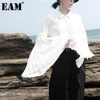 [EAM] Женщины белый плиссированный темперамент блузка отворота с длинным рукавом свободная подходит рубашка мода прилив весна осень 2021 1db817 женские блузки шир