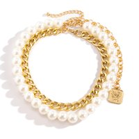 Rose Flower Pendant Necklaces French Vintage Baroque Imitation Pearl + Alloy Chains Light Luxury Wall Decoration Clavicle Chain Design Neck Jewelry Gift