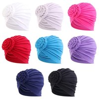 Beanie Skull Caps India Turban Bonnet For Women Solid Color Simple All-match Inner Hijab Ready To Wear Stylish Pan Flower Headscarf Hat