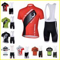 Mens Scott Team Cycling Manga corta Jersey BIB Shorts Sets Transpirable MTB Ropa de bicicleta Camisas de carreras Camisas Sets 417060