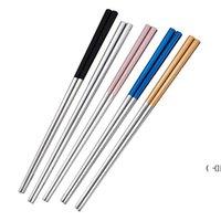 Chopsticks de aço inoxidável Metal Chop Sticks Tablewares Prata Ouro Multicolor Mesa De Mesa De Casamento Festival Festival Fontes BWC7665