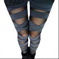 Bandage Leggings Charming Leggins Womens Slim Women Punk Legins Lady Sexy Splicing Pants Stretch Black Trousers Patchwork