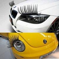 3D 자동차 헤드 라이트 속눈썹 패치 스티커 전기 눈 속눈썹 29 * 17cm 블랙