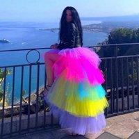 Multi Color High Low Long Tulle Skirts Elegant Tiered Women Tutu Skirt Elastic Waist Ruffled Asymmetrical Rainbow
