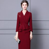 2021 new pattern claret colour dress Ruffle medium and long formal occasion one-step skirts