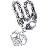 Studente Greco Associazione O PSI Phi Fraternity Regalo Dono Braccialetto Souvenir per Crystal Inlaid Heart Metal Pendant Bnagle Link, catena
