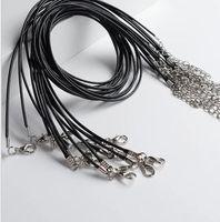 2021 1.5mm 왁스 가죽 로프 목걸이 뱀 코드 문자열 로프 와이어 Extender 랍스터 걸쇠 체인 패션 DIY 쥬얼리 결과 대량 45cm + 5cm