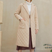 Women's Jackets Mid-Length Jacket Overcoat Solid Color Slim Fit Rhombus Pattern Winter Coat WomenTurn-down Collar Long Casual