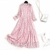 Abiti casual Donne Stampa floreale Stampa floreale Dress rosa 2021 Molla a maniche lunghe Ruffles vita alta Elegante Midi Plus Size Abbigliamento Nero