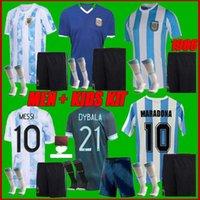 남자 + 키트 키트 2021 아르헨티나 축구 유니폼 2122 Higenain Messi Icardi Kun Aguero Maradona L.Martinez Lo Celso 축구 셔츠