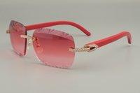 19 مصنع النقي المباشر اللون النقش النظارات الشمسية جودة عالية الأحمر الخشبية الطبيعية الماس جديد / أزرق أسود 8300765 معبد uajke