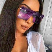 Unisex Moda Boy Büyük Kadınlar Ünlü Tasarım Bir Parça Trendy Kadın Erkek Maskesi Güneş Gözlüğü UV400