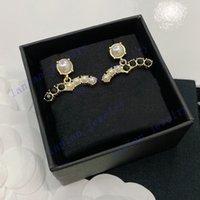 Brincos de desenhador de luxo brincos clássico Dupla letra logotipo preto diamante branco pérola 925 prata l0-c21