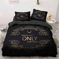 3D Black Bedding Sets Duvet Quilt Comforter Cover Set Bed Linen Pillowcase King Queen 245x210cm Size Only Gold Design Printed 210727