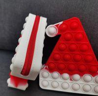 크리스마스 크리스마스 모자 스타킹 장갑 모양 실리콘 지갑 동전 가방 Fidget Popet Bubble Wallet 소년 소녀 어린이 어린이 고무 지갑 지갑 푸시 팝 보드 게임 G96i6ol