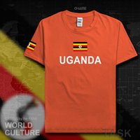 2021 Uganda Ugandan 남성 T 셔츠 패션 팀 국가 100 % 코튼 티셔츠 의류 티즈 국가 플래그 UGA H0913