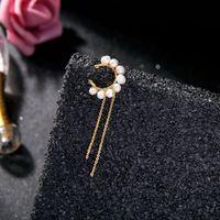 Dangle Chandelier Carino fiore oro colore stratificato in ottone catene unilaterali clip orecchini per le donne delicate zircone in acrilico perla moda ebreo