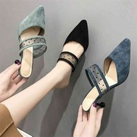 الأزياء عالية الكعب مثير السيدات أحذية امرأة النعال 2020 جديد من جلد الغزال أشار تو الصلبة قطيع المرأة أحذية البغال الشريحة عارضة الأحذية LCC0924