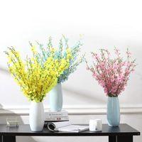 Flores decorativas grinaldas 5-prong flower artificial dançando senhora orquídea falsa jardim mesa festa casa decoração casamento simulação de arco
