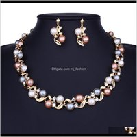 & Drop Delivery 2021 Pearl Beaded Sets Diamond Crystal Necklace Earrings Lady Evening Dress Wedding Bride Noble Jewelry Two Colors Golden And