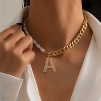 Pendant Necklaces 2021 Imitation Pearls With Chain Letter A Choker For Women Initials Beaded Jewelry