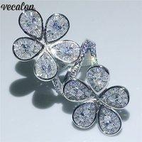 Vecalon Büyük Çiçek Yüzük 925 Ayar Gümüş Su Damlası Elmas Nişan Düğün Band Yüzük Kadınlar Için Parmak Takı