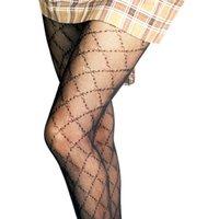 Donne Sexy Letter Stampate Socks Calze da calze One-Piece Tights Calzatura a rete Body Body Ladies Sochies Long Socks con 2 colori 4 stili