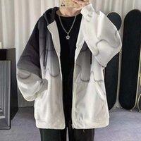 Women's Hoodies & Sweatshirts Gradient Colors Spring Autumn Long Sleeve Loose Jackets Tops Female Zipper Coat Streetwear Clothing