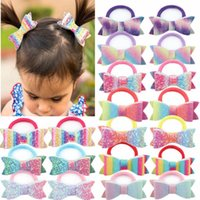 Baby Hair Accessories Girl Tie Hairbands Bands Accessory Children Kids Rainbow Bows double-deck Bowknot Scrunchies B5232