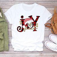 I kobiety Plaid Joy Happy Men T Shirt Year Womens Wesołych Świąt Boże Narodzenie Print Tshirts Ubrania Graficzna Kobieta Top Dam Ladies Tee