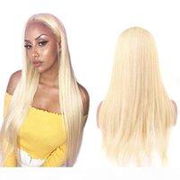 613 금발 컬러 스트레이트 브라질 버진 인간의 머리카락 3 번들 4 * 4 레이스 정면 폐쇄 아기 머리카락 확장 4pcs 로트