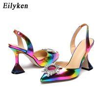 Eilyken rainbow اللون الصنادل النساء الصنادل أشار اصبع القدم الشمس نمط عالية الكعب الحنين الأحذية سبايك كعب مضخات slingback 210610